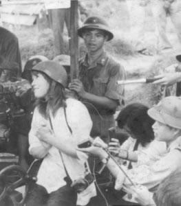 Hanoi Jane Having Fun with an NVA Gun Crew